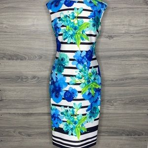 Vince Camuto Striped Floral Bodycon Dress Size 10
